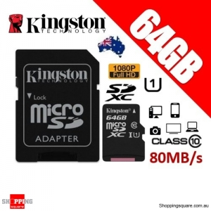 Kingston Canvas Select 64GB micro SD SDXC Memory Card 80MB/s Full HD 1080P + Adapter
