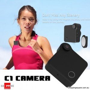 C1 720P Mini WiFi Wearable Camera with 78 Degree Lens Motion Detection Supported Android iOS Control - Black