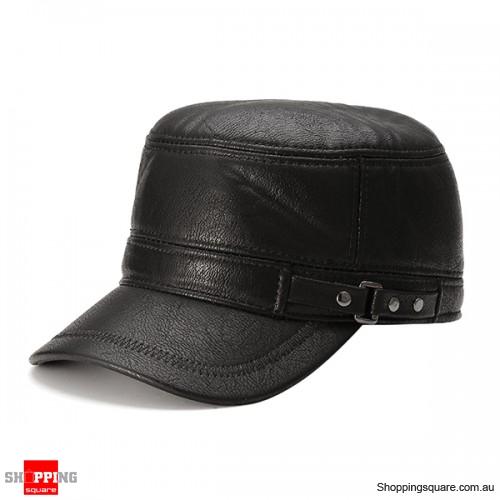 Unisex Adjustable PU Leather Baseball Polar Fleece Linen Earflap Ear Muffs Golf Hat Cap Black Colour #1