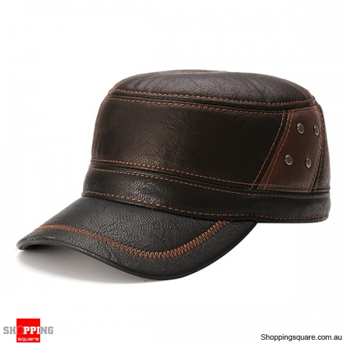 Unisex Adjustable PU Leather Baseball Polar Fleece Linen Earflap Ear Muffs Golf Hat Cap Reddish Brown Colour #4