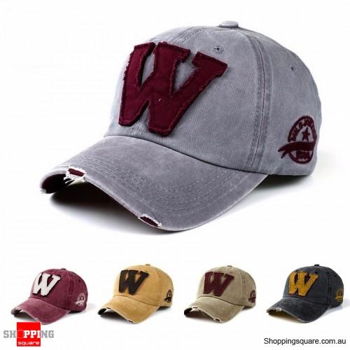 Vintage Adjustable Denim Washed Upside Down Letter ʍ Embroidery Baseball Cap Hat Snapback Light Grey Colour