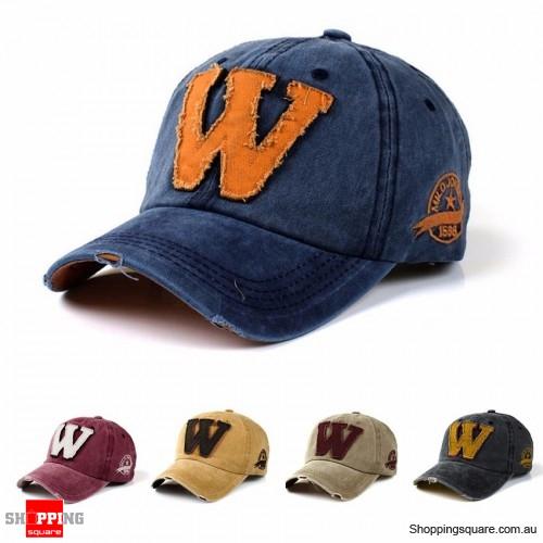 Vintage Adjustable Denim Washed Upside Down Letter ʍ Embroidery Baseball Cap Hat Snapback Blue Colour