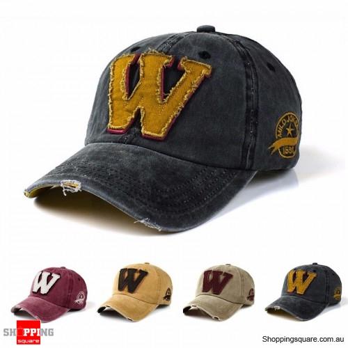 Vintage Adjustable Denim Washed Upside Down Letter ʍ Embroidery Baseball Cap Hat Snapback Black Colour
