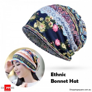Women's Cotton Floral Tribal Ethnic Print Beanie Bonnet Hat Scarf for Casual Work Autumn - Thin Blue