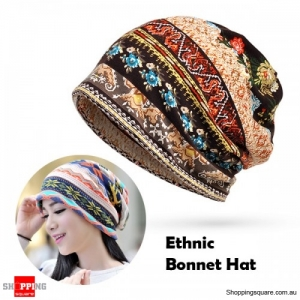 Women's Cotton Floral Tribal Ethnic Print Beanie Bonnet Hat Scarf for Casual Work Autumn - Thin Coffee