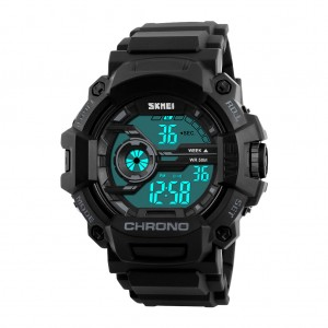 SKMEI 1233 Men's EL Backlight Sports Watch Black Colour