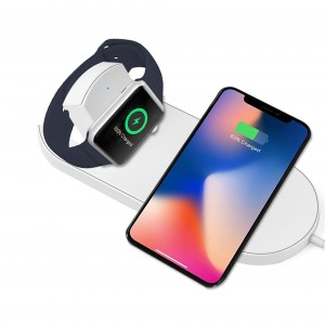 2 In 1 10W Wireless Qi Fast Charging Pad for iPhone X iWatch Samsung Note 8 S9 S8
