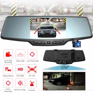 Dual Lens 1080P FHD Rearview Mirror Shaped Vehicle Car Dash DVR with Rear Camera