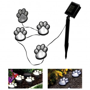 Set of 4PCS Pawprint Design Solar LED Decorative Garden Lawn Lights