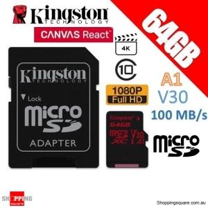 Kingston Canvas React 64GB microSD SDXC Memory Card UHS-I V30 A1 100MB/s 4K Ultra HD + Adapter