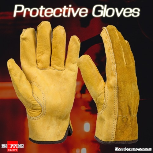 1Pair of Leather Working Safety Wear Security Protection Gloves for Garden Labor Tools - Size XL
