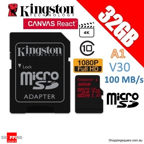 Kingston Canvas React 32GB microSD SDHC Memory Card UHS-I V30 A1 100MB/s with Adapter