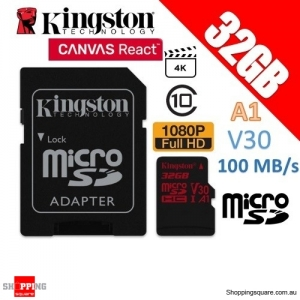 Kingston Canvas React 32GB microSDHC Memory Card UHS-I V30 A1 100MB/s with Adapter (SDCR)