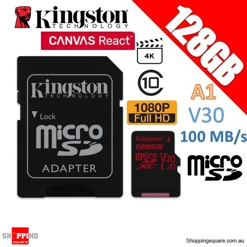 Kingston Canvas React 128GB microSD SDXC Memory Card UHS-I V30 A1 100MB/s 4K Ultra HD + Adapter
