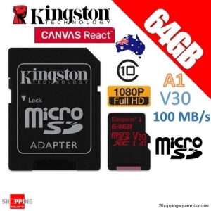 Kingston Canvas React 64GB microSD SDXC Memory Card UHS-I V30 A1 100MB/s 4K Ultra HD + Adapter