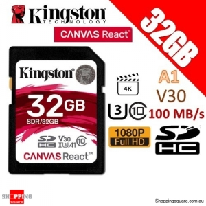 Kingston CANVAS React 32GB SDHC Class 10 UHS-I U3 V30 A1 100MB/s Memory Card 4K
