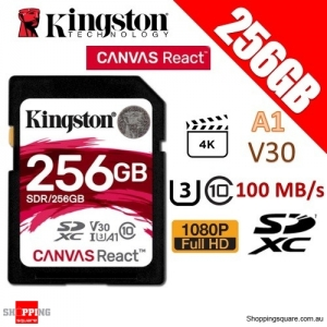 Kingston CANVAS React 256GB SDXC Class 10 UHS-I U3 V30 A1 100MB/s Memory Card