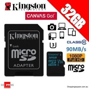 Kingston 32GB Canvas Go microSDHC Memory Card Class 10 UHS-I V30 90MB/s 4K HD (SDCG2)