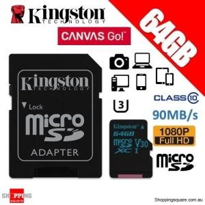 Kingston Canvas Go 64GB micro SD SDXC Memory Card Class 10 UHS-I U3 V30 90MB/s 4K Ultra HD