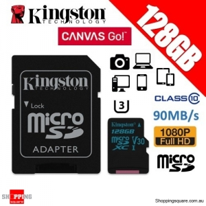 Kingston 128GB Canvas Go microSDXC Memory Card Class 10 UHS-I 90MB/s 4K HD (SDCG2)