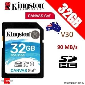 Kingston 32GB Canvas Go SDHC Memory Card Class 10 UHS-I U3 V30 90MB/s 4K HD (SDG)