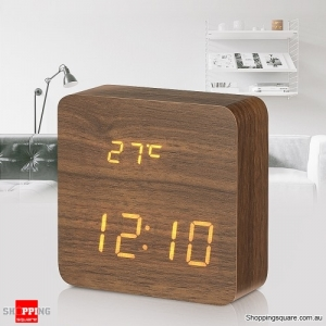 Wooden Multifunctional LED Digital Alarm Clock Thermometer - Brown Colour