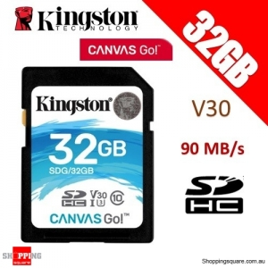 Kingston Canvas Go 32GB SD SDHC Memory Card Class 10 UHS-I U3 V30 90MB/s 4K Ultra HD