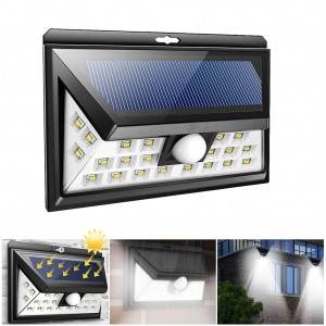 Solar Powered Wireless 24-LED Motion Sensor Wall Light for Garden Front Door Corridor