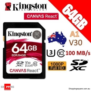 Kingston CANVAS React 64GB SDXC Class 10 UHS-I U3 V30 A1 100MB/s Memory Card