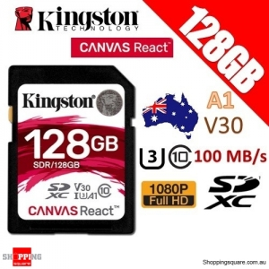 Kingston CANVAS React 128GB SDXC Class 10 UHS-I U3 V30 A1 100MB/s Memory CardA