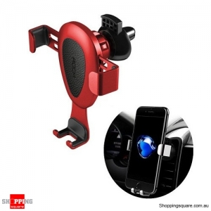 Rock Leather Gravity Linkage Auto Lock 360 Degree Rotatable Car Holder Stand for iPhone Samsung - Red