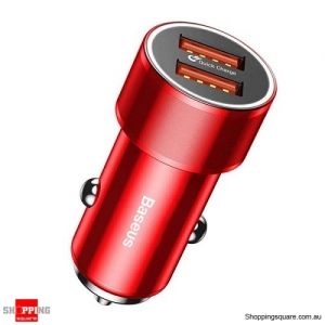 Baseus 36W QC3.0 Dual USB Fast Car Charger For iPhone XS Max XR X 8 Samsung Red Colour
