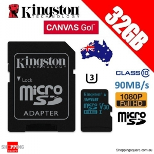 Kingston 32GB Canvas Go microSDHC Memory Card Class 10 UHS-I V30 90MB/s 4K HD