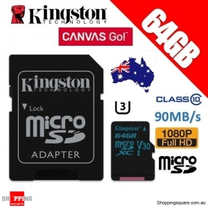 Kingston 64GB Canvas Go microSDXC Memory Card Class 10 UHS-I 90MB/s 4K HD dash cam