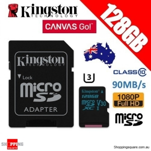 Kingston Canvas Go 128GB micro SD SDXC Memory Card Class 10 UHS-I U3 V30 90MB/s 4K Ultra HD