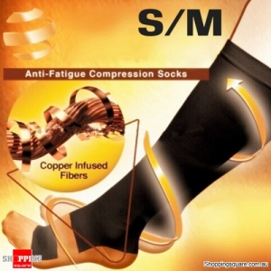 1 Pair of Unisex Anti Fatigue Copper Infused Varicose Veins Compression Socks Size S/M