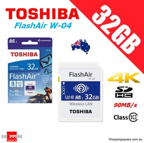 Toshiba FlashAir 32GB Wireless SD SDHC Memory Card WLAN W-04 Class 10 90MB/s