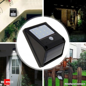 12-LED Solar Powered Wall Light with PIR Motion Sensor for Garden Outdoor
