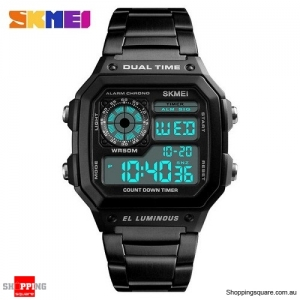 SKMEI 1335 Stainless Steel Digital Chronograph Alarm Sports Watch for Men - Black Colour