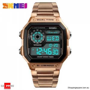 SKMEI 1335 Stainless Steel Digital Chronograph Alarm Sports Watch for Men - Rose Gold Colour
