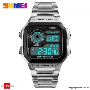 SKMEI 1335 Stainless Steel Digital Chronograph Alarm Sports Watch for Men - Silver Colour