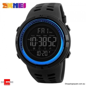 SKMEI 1251 Countdown Double Time Digital Men's Sports Watch - Black/Blue Colour