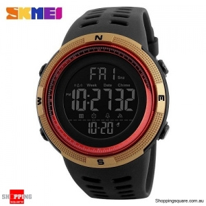 SKMEI 1251 Countdown Double Time Digital Men's Sports Watch - Gold/Red Colour