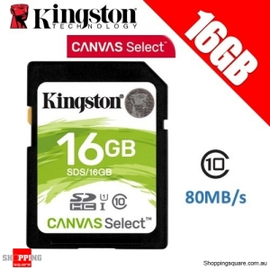 Kingston 16GB Canvas Select Class 10 SDHC UHS-I SDHC Memory Card 80MB/s