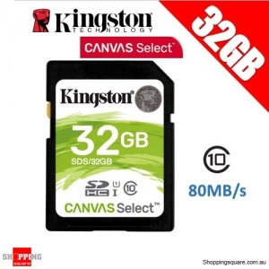 Kingston 32GB Canvas Select Class 10 SDHC UHS-I SDHC Memory Card 80MB/s