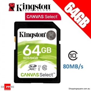 Kingston 64GB Canvas Select Class 10 SDXC UHS-I SDHC Memory Card 80MB/s