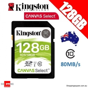 Kingston 128GB Canvas Select Class 10 SDXC UHS-I SDHC Memory Card 80MB/s