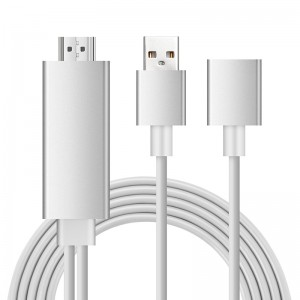 PTVwire HDTV lightning to HDMI 1080P FHD Plug&Play Cable for iOS Android Silver Colour