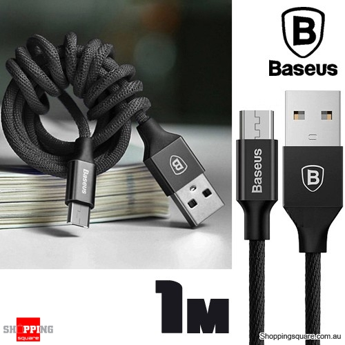 Baseus 1M Yiven Micro USB Charging Data Sync Braided Cable - Black