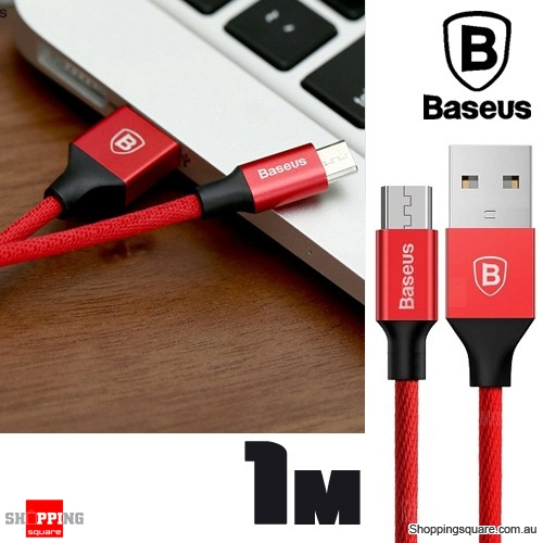 Baseus 1M Yiven Micro USB Charging Data Sync Braided Cable - Red